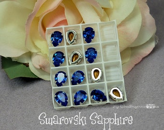 Sapphire Blue, Vintage Swarovski Crystal, 10x7mm Pear 4320, With Prong Setting, Crystal Sew On,Rhinestone Setting, 2 or 4 Pcs Jewelry Making