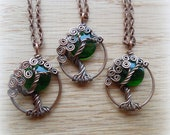 Moon Ivy Green Tree of Life Necklace