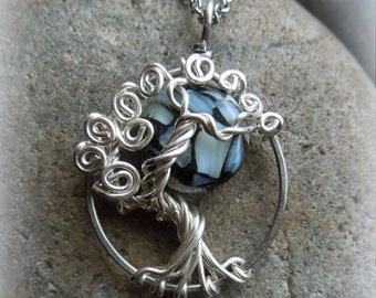 Midnight Moon Tree of Life Necklace-Sterling silver- Tree and Moon-Mother of Pearl-Shell