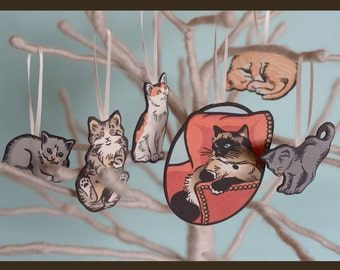 Letterpress Christmas ornaments, KITTY set of 6, made from hand-colored linocut prints and featuring the Itty Bitty Kitty Committee