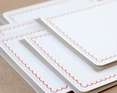 Letterpress Stationery : Fire Red Simple Scallop Notes, box set of 5 medium flat cards w stone gray colored envelopes
