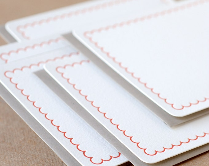 Letterpress Stationery : Fire Red Simple Scallop Notes, box set of 25 medium flat cards w envelope color choice