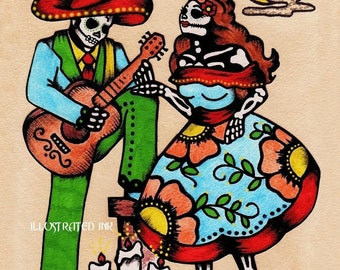 Dia de los Muertos Art Mexican Folk COUPLE Print 5 x 7, 8 x 10 or 11 x 14