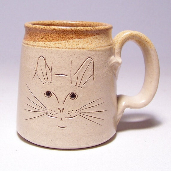 Cat Face Pottery  Coffee Mug Limited Series 205 (microwave safe) 12oz