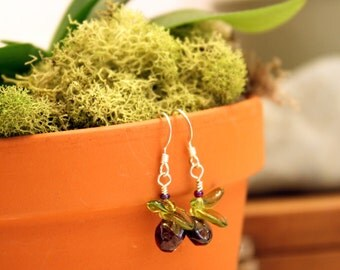 Garnet Baby Orchid Earrings