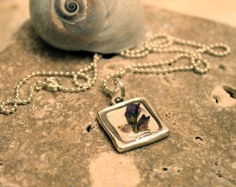 Pressed Lavender Pendant and Sterling Silver Chain