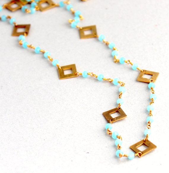Pastel Blue Necklace, Light Blue Stone, Chalcedony Stone, Boho, Long Bohemian Necklace, Delicate Long Necklace, SALE