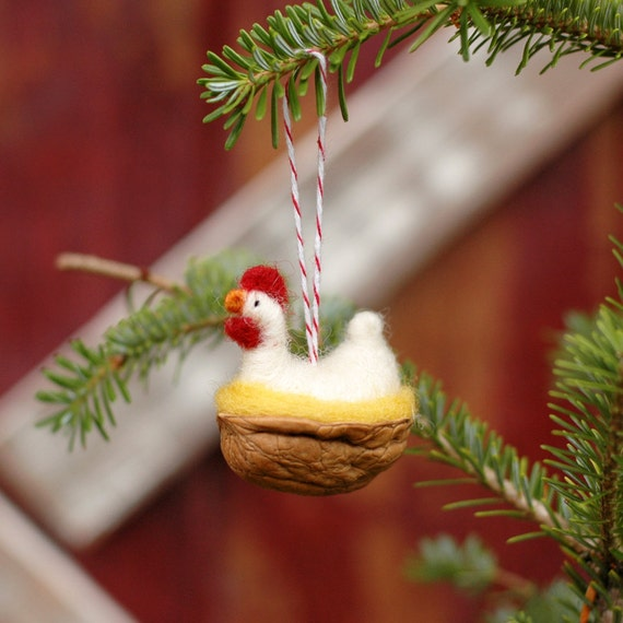 Chicken in a Walnut - White Leghorn - Needle Felted Ornament