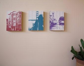 San Francisco Art - San Francisco Print Set - SF art - San Francisco Artwork Set of 3 - Modern Art