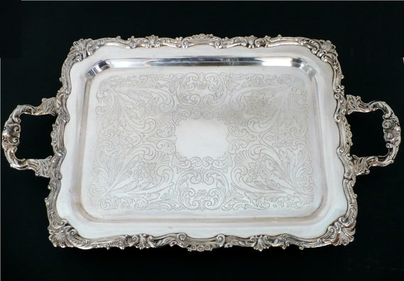 Sheridan Butler Serving Tray - Large Silver Plated Footed Tray with Handles 1940s 40s Serving Silverplated Tray Ornate Engraved Table Decor