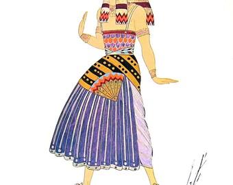 Egyptian Costume, 1919, Magi Costume, Balthazar, 1919 Erte Theatrical Costumes 2 Sided Book Plate 1979 Full Color Illustration