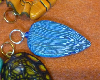 Feathery Blue Purple Peacock Feather inspired polymer clay pendant Stocking Stuffer Christmas Gift