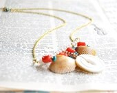 Sale - Button Necklace - Coral Charm Necklace - Turquoise - Beach Jewelry - Ocean Sand Bar