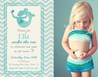 MAGICAL MERMAID in CHEVRON Photo Birthday Invitation (Printable)
