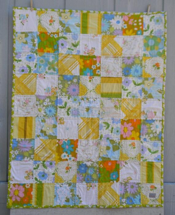 Sunny day vintage linens toddler quilt