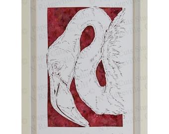 Flamingo Papercutting- Handcut original, Watercolor background