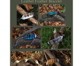 CUSTOM - Leather Feather Bracelet - Bird Feather Jewelry