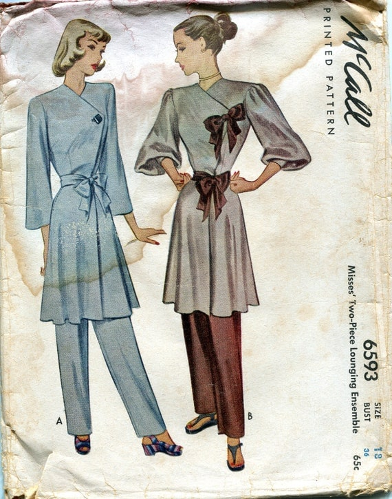 Vintage 1940s Wrap Dress or Robe with a Sash and Pants Pattern, McCall 6593, Size 18, Bust 36, Uncut