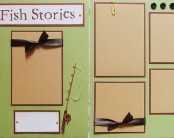 Premade 12x12 Scrapbook Pages - fishing layout -- FISH STORIES -- GoNE FisHiN', going fishing, summer, family, boy, girl, grandpa, dad