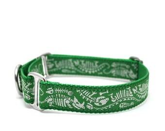 "1"" Dog Collar Dino Bones martingale or buckle collar"