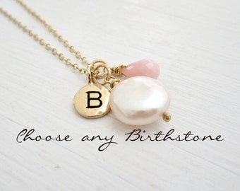 October birthstone necklace, Pink Opal, coin pearl, custom initial, gold filled chain, personalized necklace
