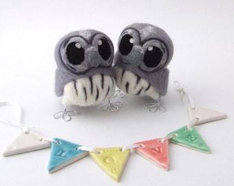 Grey Owl Wedding Cake Topper