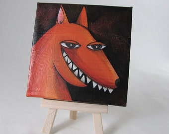 Mixed Media - Mini Canvas - Grinning Fox