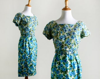 Vintage 1950s Dress - Teal Floral Cocktail Dress with Iridescent Sequins - Lentz Diminutives - Small Medium