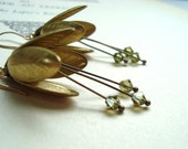 Brass Flower Bud Earrings with Olive Crystal Brass Jewelry Flower Jewelry Shabby Chic Spring Bridal Jewelry Bridesmaid Earrings