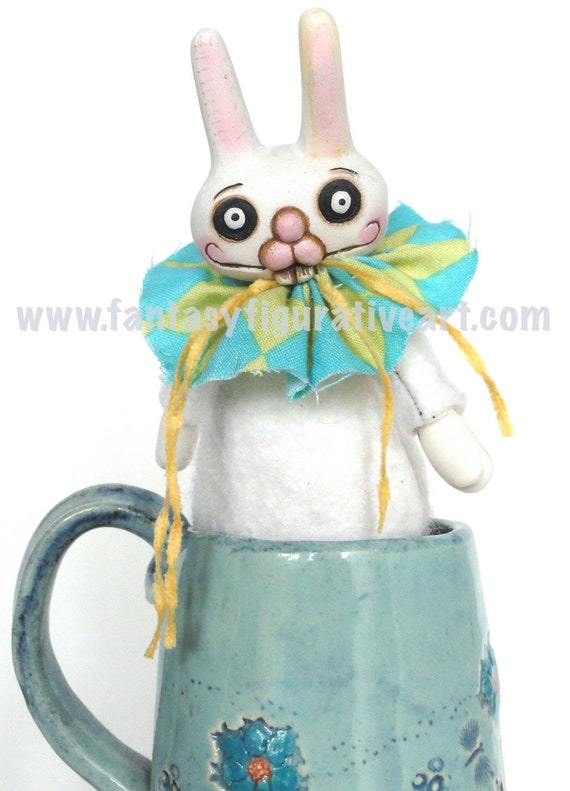 rabbit mixed media sculpture bjd blythe prop anime miniature plush art doll