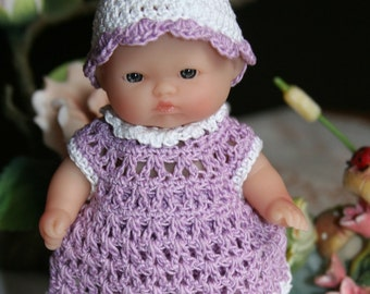 Crochet outfit Berenguer 5 inch Lots to Love baby doll lilac Lavender  White Dress Set