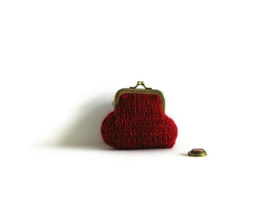 Red Coin Purse Hand Knitted in Soft Wool Blend