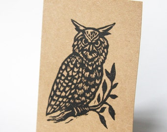 Greeting Card, Owl Blank Greeting Cards, Set of 5 Owl Linocut Blank Hand Printed Greeting Cards, Stationery