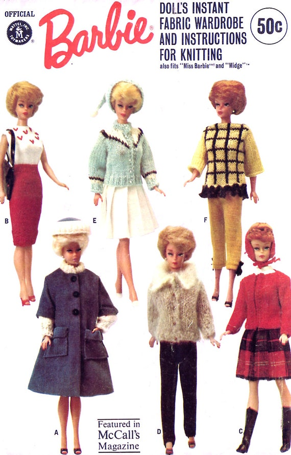 Vintage 60s Barbie Wardrobe Pattern - McCalls 7431 - Instant Wardrobe to Knit and Sew - Uncut