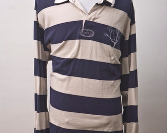XL Izod Rugby Shirt Upcycled with Screen Printed Tree