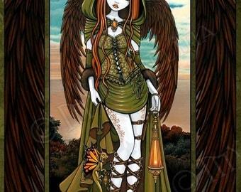 Gwyneth Dragon Sunset Angel Fairy 8x10 Signed PRINT