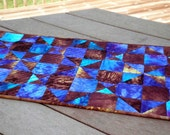 Quilted Table Runner  Spinning Nines in Hand Dyed Magic Blue Golden Brown