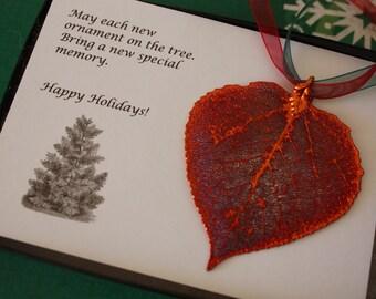 Leaf Ornament Copper, Real Leaf Aspen, Aspen Leaf Extra Large, Ornament Gift, Christmas Card, ORNA58