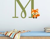 Fox Monogram Initial Wall Decal - Woodland Forest Animal Theme Decor - Nursery Boy Girl Bedroom - Initial Wall Sticker - Customize Your Room