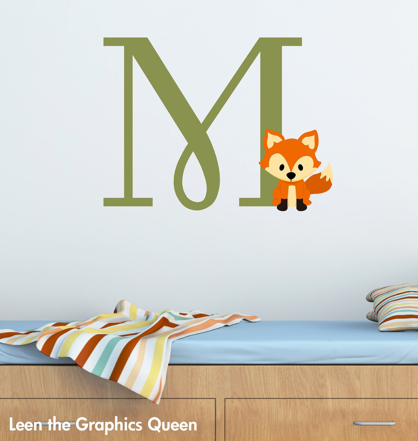 Fox monogram initial wall decal woodland forest animal theme zoom amipublicfo Gallery