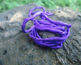 1 Strand of Grape Hand Dyed Silk Cording