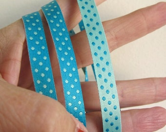3 yards ELOISE Polka Dots Jacquard trim. REVERSIBLE. Aqua and Turquoise. 3/8 inch wide. 928-C