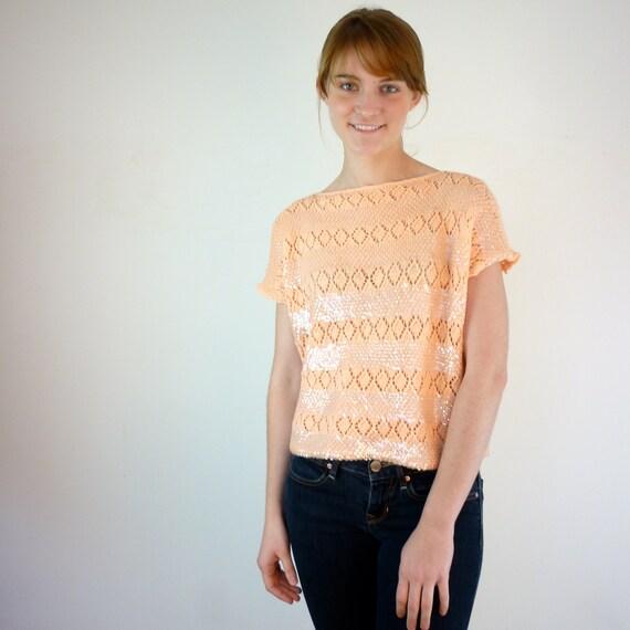 1960s Sweater - Peach Eyelet Sweater
