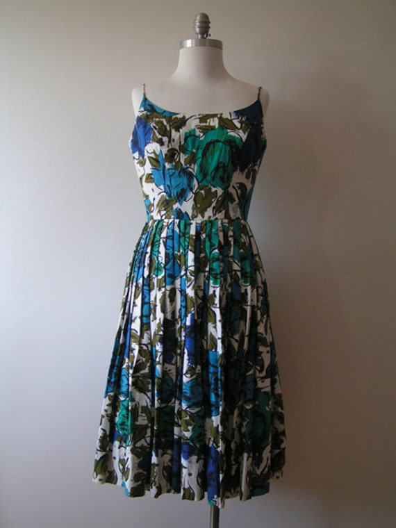 RESERVED for wendymaryjohn 1950's Vintage Blue Rose Print  Dress