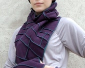 Plum Scarf with teal thread details, Recycled Fleece, vegan, Xmittens