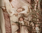 Christmas, Noel Angel watching over Simone, doll, gifts, tree - French Postcard 1905 - Instant Digital Download FC054