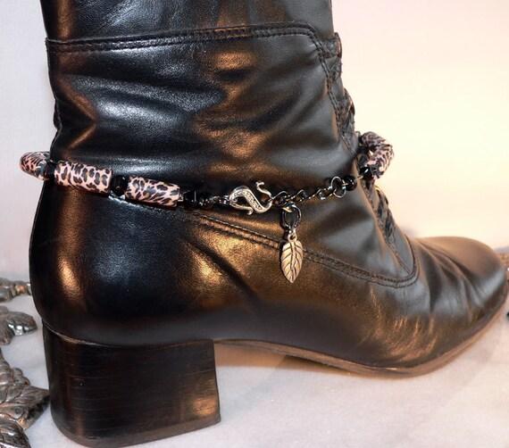 Boot Bracelet Tan & Black Beaded Cowboy Western Heel Bling Handmade Jewelry 1337