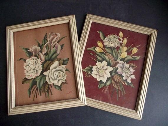 Vintage De Jonge Floral Prints Art Deco Pair On Berry