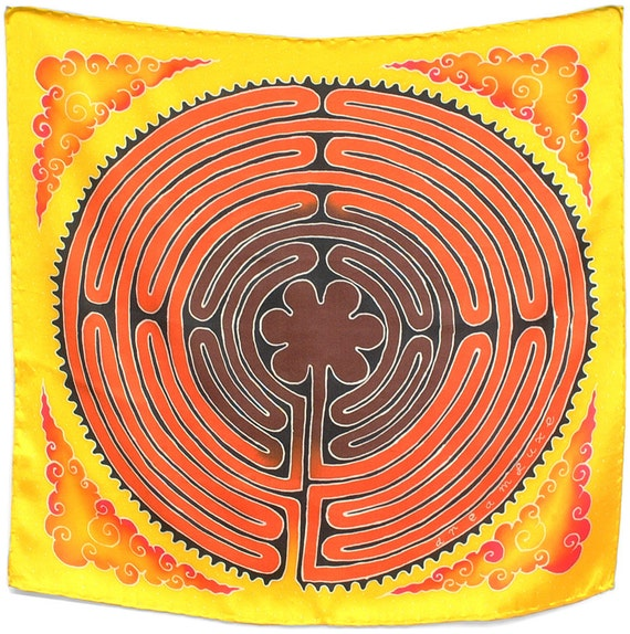 "Silk Scarves Hand Painted. Labyrinth Scarf Painted on Charmeuse Silk. Ancient Symbol Scarf. Square Scarf. Batik Luxury Scarf. 21""x21""."
