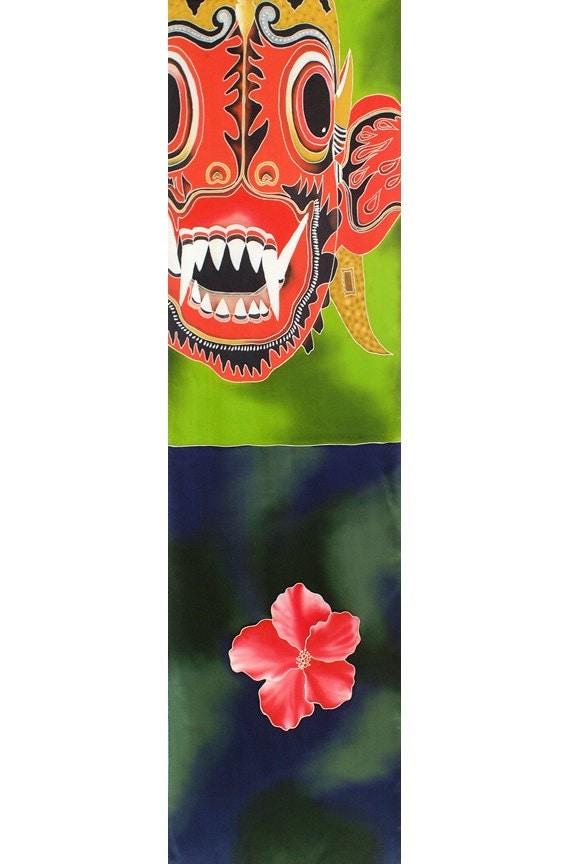 Silk Scarf Handpainted, Mask scarf, Red flower Scarf, Batik, Handmade scarf, Unique scarf, colorful scarf, silk scarf painting, Bali mask
